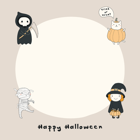 Hand drawn vector illustration of a kawaii funny death, witch, mummy, cat in a pumpkin, with text Happy Halloween, copy space. Isolated objects. Line drawing. Design concept print, card, invitation. Ilustração Vetorial