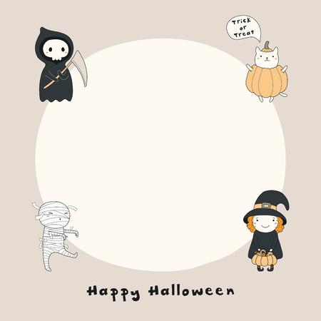 Ilustración de vector dibujado a mano de una muerte divertida kawaii, bruja, momia, gato en una calabaza, con texto Feliz Halloween, espacio de copia. Objetos aislados. Dibujo lineal. Impresión de concepto de diseño, tarjeta, invitación. Ilustración de vector