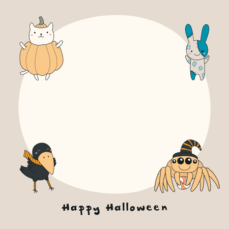 Hand drawn vector illustration of a kawaii funny crow, cat in a pumpkin, zombie bunny, spider, with text Happy Halloween, copy space. Isolated objects. Line drawing. Design concept for print, card.