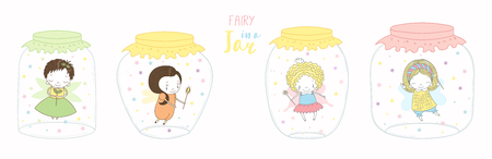 Set of glass jars with different cute funny little fairies inside. Isolated objects on white background. Hand drawn vector illustration. Line drawing. Design concept for children print.