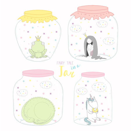 Set of glass jars with cute funny fairy tale characters inside. Isolated objects on white background. Hand drawn vector illustration. Line drawing. Design concept for children print.