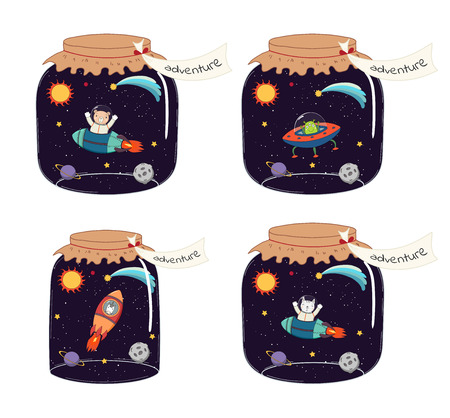Set of glass jars with cute funny animal astronaut characters in space, inside. Isolated objects on white background. Hand drawn vector illustration. Line drawing. Design concept for children print. Illustration