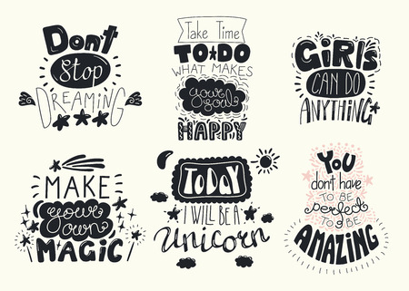 Set of hand written inspirational lettering quotes. Isolated objects. Hand drawn black and white vector illustration. Design concept for t-shirt print, motivational poster.