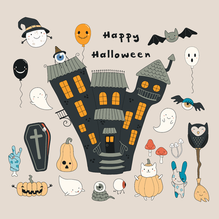 Hand drawn vector illustration of a haunted house, kawaii funny cartoon characters, with text Happy Halloween. Isolated objects. Line drawing. Design concept for print, card, party invitation.