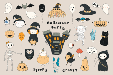 Big set of kawaii funny Halloween elements, characters, with text, haunted house, pumpkins, ghosts, cat, mummy . Isolated objects. Hand drawn vector illustration. Line drawing. Design concept print