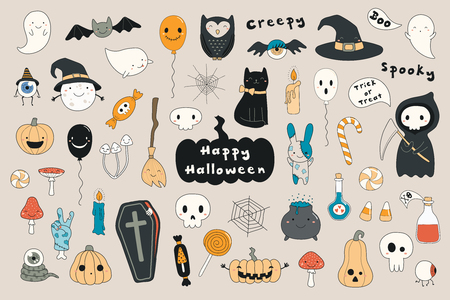Big set of kawaii funny Halloween elements, with text, pumpkins, ghosts, monsters, zombie, death, candy, balloons. Isolated objects. Hand drawn vector illustration. Line drawing Design concept print Illustration