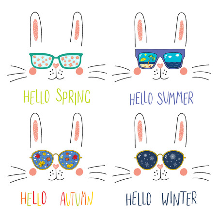 Set of cute bunny faces in sunglasses with summer, autumn, winter, spring symbols reflected, text. Isolated objects on white. Hand drawn vector illustration. Line drawing. Concept four seasons.