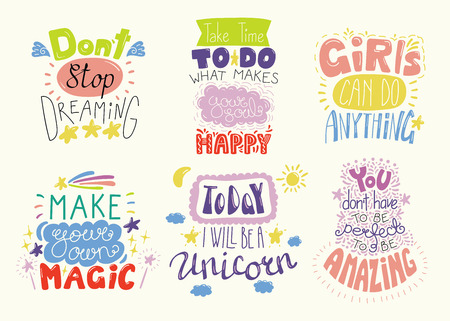Set of hand written inspirational lettering quotes. Isolated objects. Hand drawn colorful vector illustration. Design concept for t-shirt print, motivational poster. Çizim