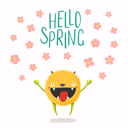 Hand drawn vector illustration of a cute little monster jumping, falling flowers, quote Hello Spring. Isolated objects on white background. Flat style design. Concept for change of seasons, kids print