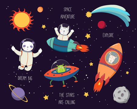 Set of cute funny cat, panda, deer astronauts, alien in space, with planets, stars, quotes. Hand drawn vector illustration. Line drawing. Design concept for children print.