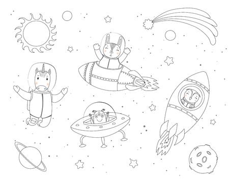 Dibujado a mano ilustración vectorial en blanco y negro de lindo conejito divertido, búho, astronautas unicornio, alienígena en el espacio, con planetas, estrellas. Objetos aislados. Dibujo lineal. Concepto de diseño para niños páginas para colorear Ilustración de vector