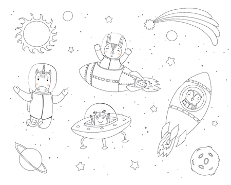 Hand drawn black and white vector illustration of cute funny bunny, owl, unicorn astronauts, alien in space, with planets, stars. Isolated objects. Line drawing. Design concept children coloring pages