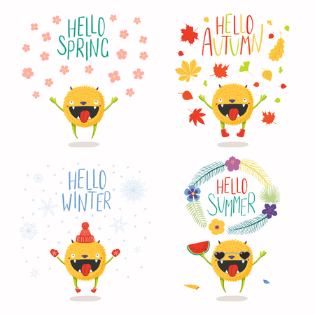 Set of hand drawn vector illustrations of a cute little monster in summer, autumn, winter, spring, with text. Isolated objects on white background. Flat style design. Concept seasons change, children.