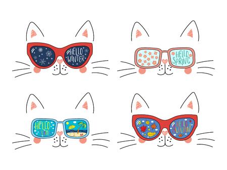 Conjunto de caras de gato lindo en gafas de sol con verano, otoño, invierno, símbolos de primavera reflejados, texto. Objetos aislados en blanco. Ilustración de vector dibujado a mano. Dibujo lineal. Concepto de cuatro temporadas. Ilustración de vector