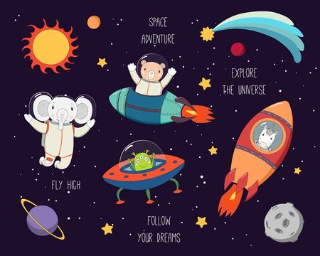 Set di simpatici elefanti divertenti, orsi, astronauti unicorno, alieni nello spazio, con pianeti, stelle, citazioni. Illustrazione vettoriale disegnato a mano. Linea di disegno. Concetto di design per la stampa dei bambini. Vettoriali