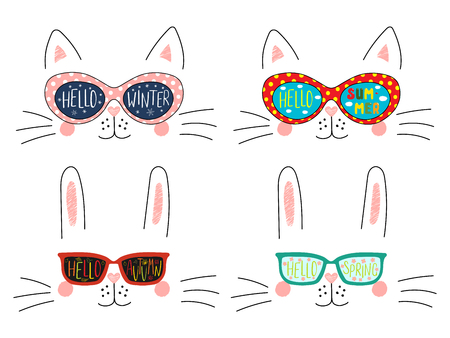 Set of cute cat, bunny faces in sunglasses with summer, autumn, winter, spring symbols reflected, text. Isolated objects on white. Hand drawn vector illustration. Line drawing. Concept four seasons.