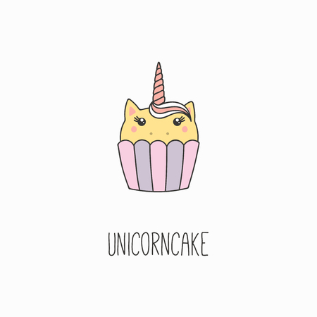 Hand drawn vector illustration of a kawaii funny cupcake with unicorn horn, ears, with text. Isolated objects on white background. Line drawing. Design concept for cafe menu, children print.