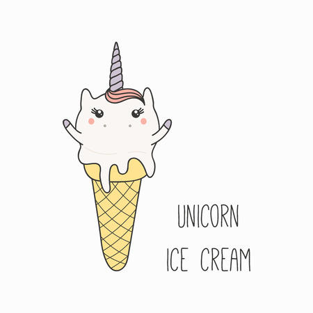 Hand drawn vector illustration of a kawaii funny ice cream cone with unicorn horn, ears, with text. Isolated objects on white background. Line drawing. Design concept for cafe menu, children print. Ilustracja