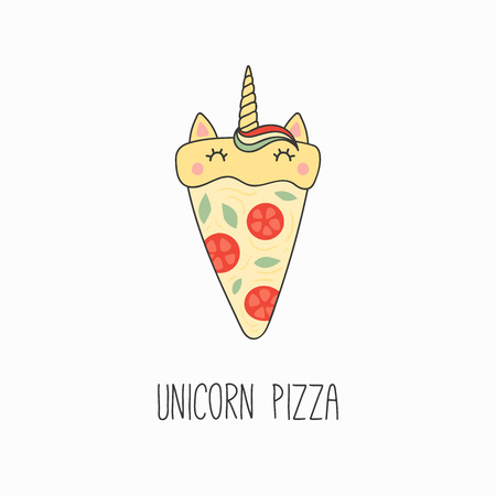 Hand drawn vector illustration of a kawaii funny pizza slice with unicorn horn, ears, with text. Isolated objects on white background. Line drawing. Design concept for cafe menu, children print.