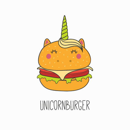 Hand drawn vector illustration of a kawaii funny burger with unicorn horn, ears, with text. Isolated objects on white background. Line drawing. Design concept for cafe menu, children print.