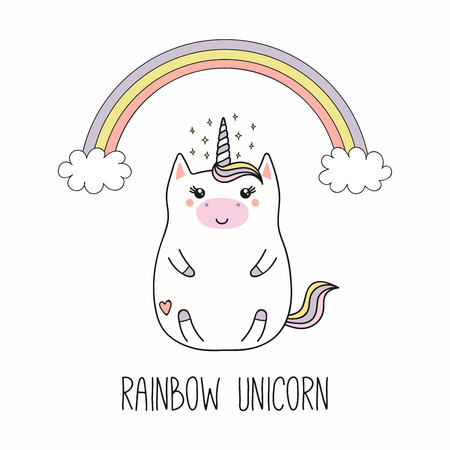 Hand drawn vector illustration of a kawaii funny fat unicorn, with rainbow, cloud, stars, text. Isolated objects on white background. Line drawing. Design concept for children print. Illustration