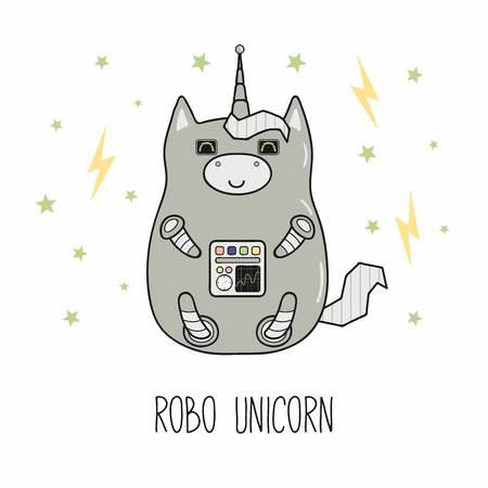 Hand drawn vector illustration of a kawaii funny fat robot unicorn, with text. Isolated objects on white background. Line drawing. Design concept for children print. Illustration