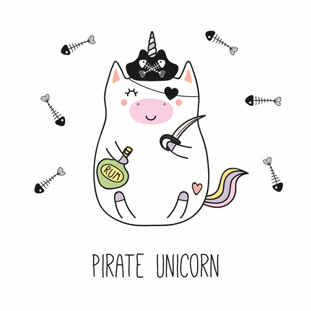 Hand drawn vector illustration of a kawaii funny fat pirate unicorn in a tricorne hat, with cutlass, rum bottle. Isolated objects on white background. Line drawing. Design concept for children print.