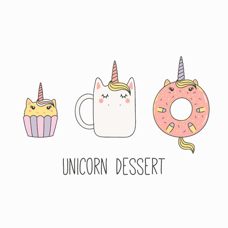 Hand drawn vector illustration of a kawaii funny mug cup, cupcake, donut with unicorn horn, ears, with text. Isolated objects on white background. Line drawing. Design concept cafe menu, kids print.