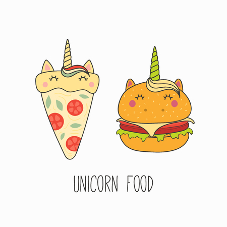 Hand drawn vector illustration of a kawaii funny pizza, burger with unicorn horn, ears, with text. Isolated objects on white background. Line drawing. Design concept for cafe menu, children print. Illustration