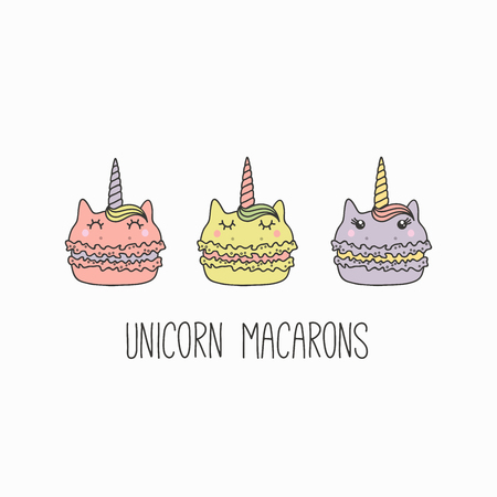 Hand drawn vector illustration of a kawaii funny macarons with unicorn horn, ears, with text. Isolated objects on white background. Line drawing. Design concept for cafe menu, children print.