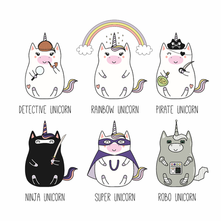 Set of kawaii funny fat unicorns, detective, rainbow, pirate, ninja, superhero, robot, with text. Isolated objects on white. Hand drawn vector illustration. Line drawing. Design concept for kids print