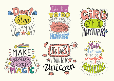 Set of hand written inspirational lettering quotes. Isolated objects. Hand drawn colorful vector illustration. Design concept for t-shirt print, motivational poster. Illustration