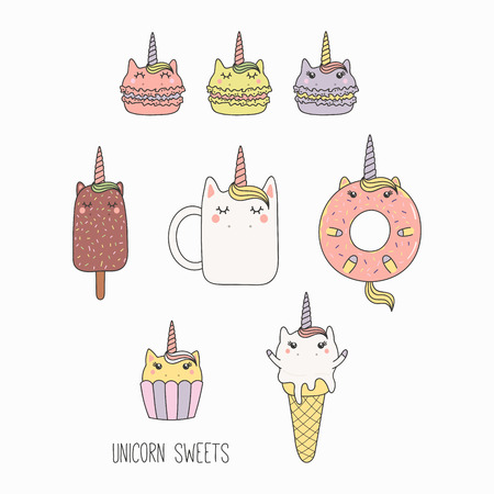 Hand drawn vector illustration of a kawaii funny sweet food with unicorn horn, ears, with text. Isolated objects on white background. Line drawing. Design concept for cafe menu, children print. Illustration