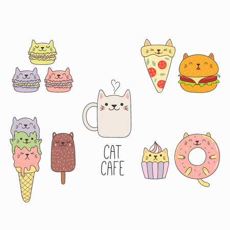 Hand drawn vector illustration of a kawaii funny food with cat ears, with text. Isolated objects on white background. Line drawing. Design concept for cafe menu, children print.