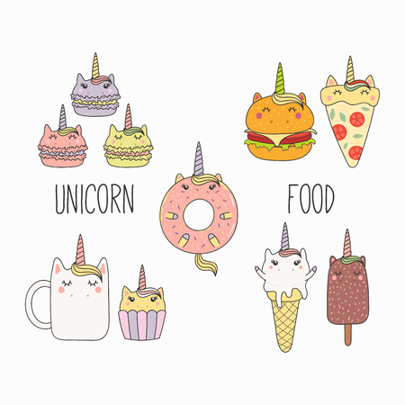 Hand drawn vector illustration of a kawaii funny food with unicorn horn, ears, with text. Isolated objects on white background. Line drawing. Design concept for cafe menu, children print. Illustration