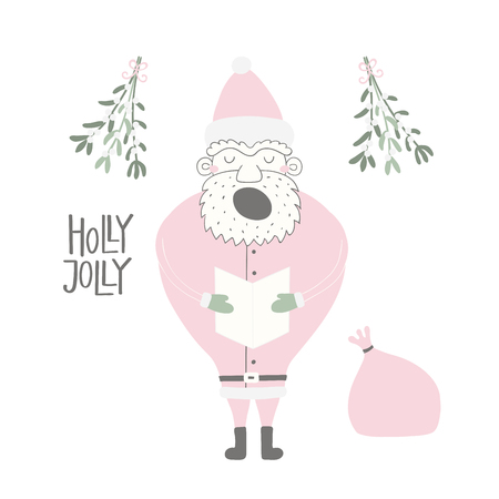 Hand drawn vector illustration of a cute funny Santa Claus singing, with sack, lettering quote Holly jolly. Isolated objects on white background. Flat style design. Concept for Christmas card, invite.