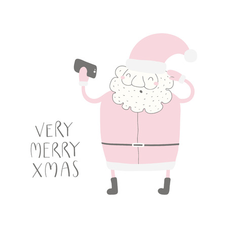 Hand drawn vector illustration of a funny Santa Claus taking selfie, with quote Very merry Xmas. Isolated objects on white background. Flat style design. Concept for Christmas card, invite. Illustration