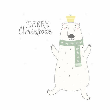 Hand drawn vector illustration of a cute funny polar bear in a scarf, with present, lettering quote Merry Christmas. Isolated objects on white background. Flat style design. Concept for card, invite.