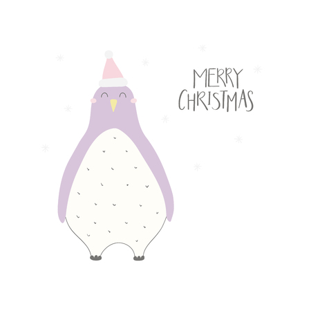 Hand drawn vector illustration of a cute funny penguin in a Santa hat, with lettering quote Merry Christmas. Isolated objects on white background. Flat style design. Concept for Christmas card, invite