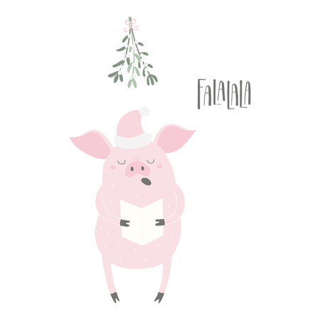 Hand drawn vector illustration of a cute funny pig in a Santa hat, singing, with lettering quote Falalala. Isolated objects on white background. Flat style design. Concept for Christmas card, invite. Illustration