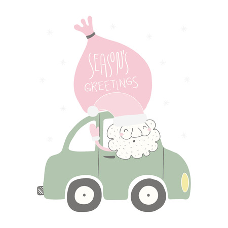Hand drawn vector illustration of a funny Santa Claus driving a car, with sack, quote Seasons greetings. Isolated objects on white background. Flat style design. Concept for Christmas card, invite. Illustration