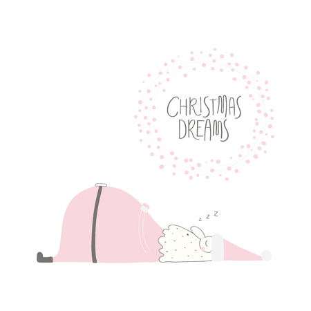 Hand drawn vector illustration of a cute funny Santa Claus sleeping, with lettering quote Christmas dreams. Isolated objects on white background. Flat style design. Concept for card, invite