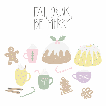 Big set of cute sweet Christmas food, with lettering quote Eat, drink, be merry. Isolated objects on white background. Hand drawn vector illustration. Flat style design. Concept for card, invite. Standard-Bild - 112226903