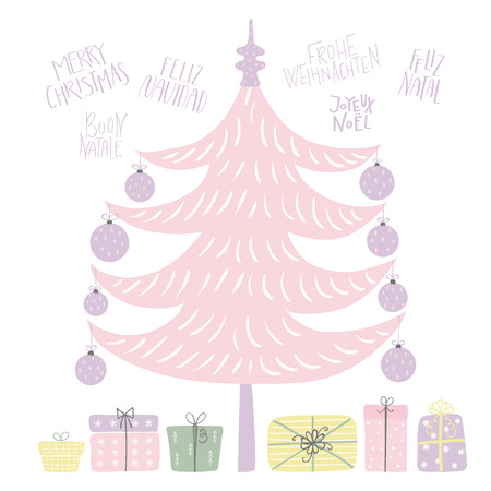 Hand drawn vector illustration of a cute decorated Christmas tree, with quotes Merry Christmas in different languages. Isolated objects on white background. Flat style design. Concept for card, invite