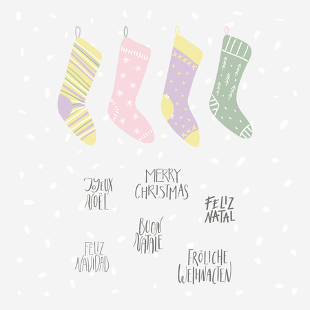 Hand drawn vector illustration of cute Christmas stockings, with quotes Merry Christmas in different languages. Isolated objects on white background. Flat style design. Concept for card, invite.