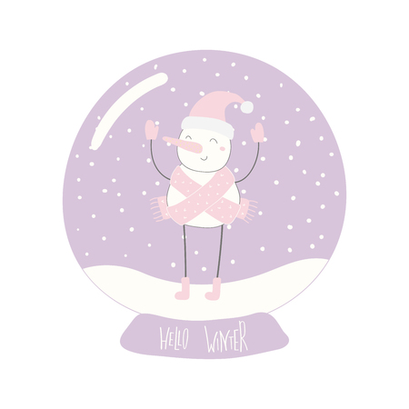 Hand drawn vector illustration of a cute funny snowman in a snow globe, with lettering quote Hello winter. Isolated objects on white background. Flat style design. Concept for Christmas card, invite.