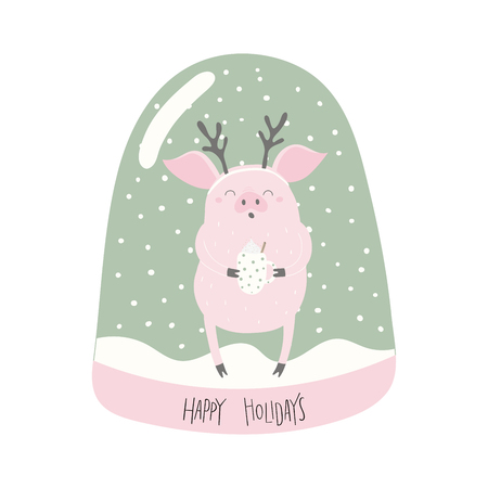 Hand drawn vector illustration of a cute funny pig in a snow globe, with lettering quote Happy holidays. Isolated objects on white background. Flat style design. Concept for Christmas card, invite.