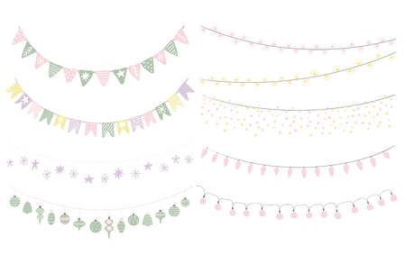 Set of cute hanging bunting, with flags, lights, decorations, stars, snowflakes. Isolated objects on white background. Hand drawn vector illustration. Flat style design. Concept for Christmas.