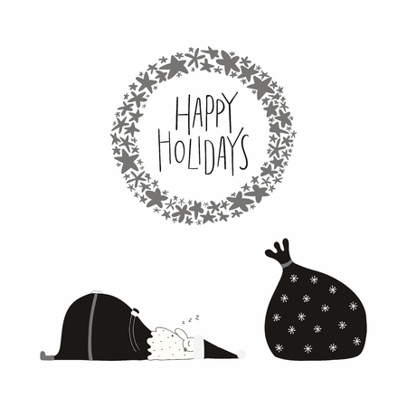 Hand drawn vector illustration of a cute funny Santa Claus sleeping, with sack, lettering quote Happy holidays. Isolated objects on white background. Flat style design. Concept Christmas card, invite Illustration