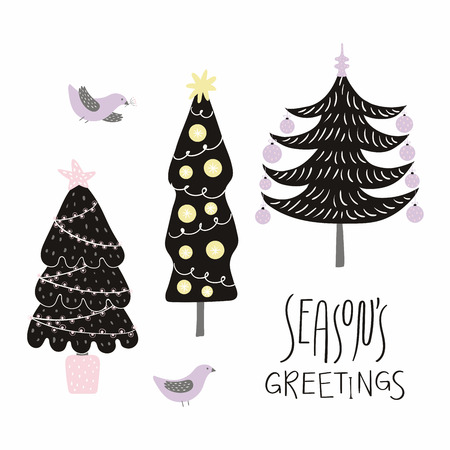 Hand drawn vector illustration of cute decorated Christmas trees, with birds, lettering quote Seasons greetings. Isolated objects on white background. Flat style design. Concept for card, invite. Illustration